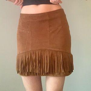 Bershka Fringe Camel/Tan Suede Mini Skirt